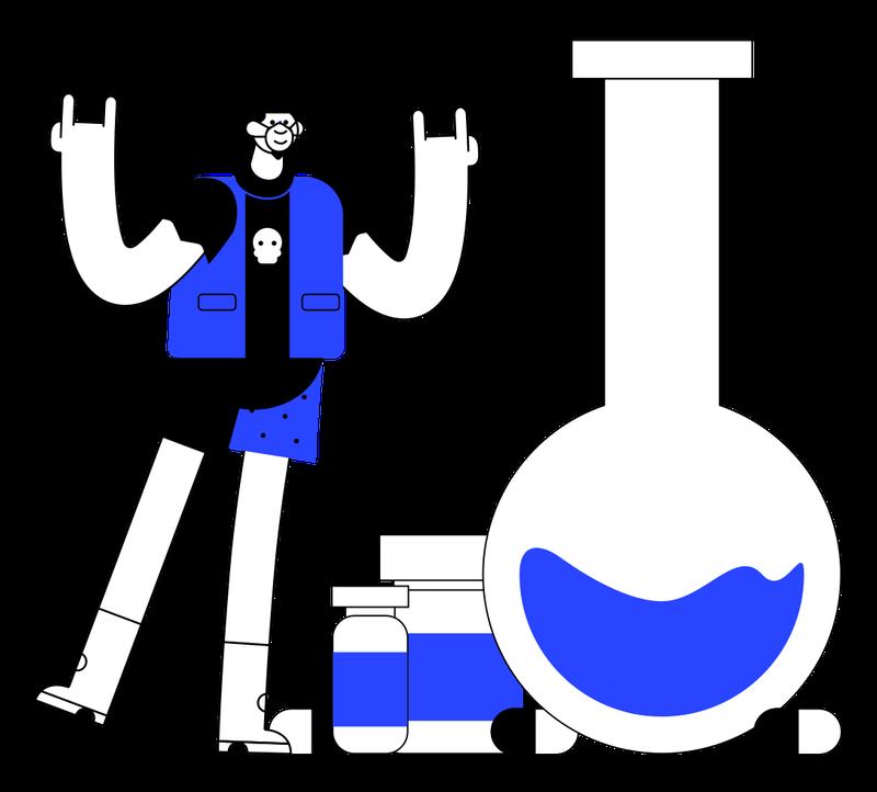illustration of mac man with lab equipment