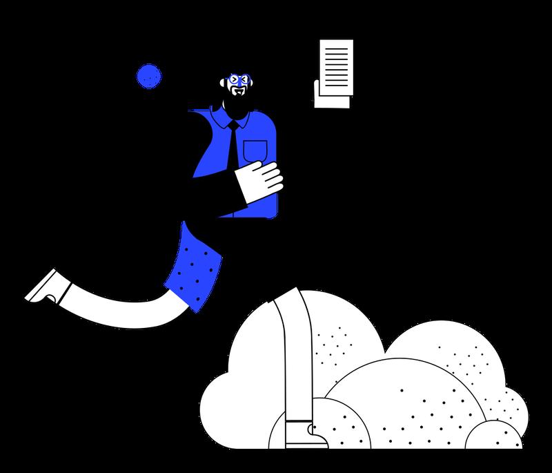 illustration of man holding files